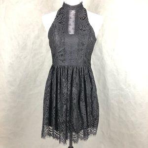 Trixxi High Neck Black Lace Cocktail Dress